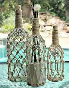 Macrame over recycle bottles http://cameocottagedesigns.blogspot.com/2014/07/my-ballard-design-demijohn-knockoff.html?m=1