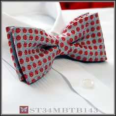 Brand New Gray Red Dot Jacquard Mens Bowtie B143   eBay