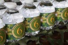 Camoflauge Water Bottle Labels Printable - Camo Army Military.