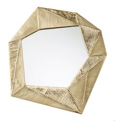 Abstract Origami Mirror in Brass