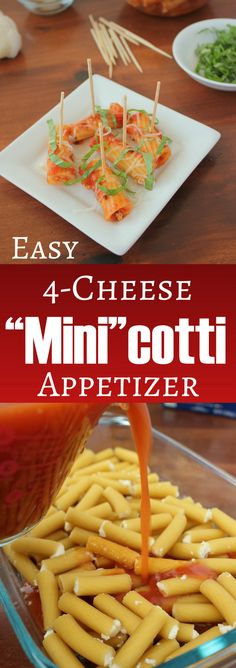 Easy 4-Cheese Mini Manicotti Appetizer | KitchenCents.com They would make a fantastic cheesy appetizer for your next party.