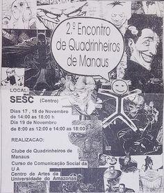 Cartaz do 2º Encontro de Quadrinheiros de Manaus, realizado no SESC-AM em 1993, pelo Clube dos Quadrinheiros de Manaus.