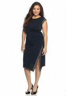 MICHAEL Michael Kors Plus SizeStudded Asymmetrical Hem Dress