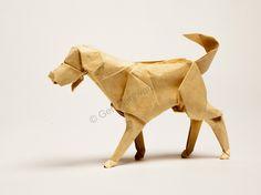 Labrador Retriever by Gen Hagiwara Cute Origami, Oragami, 3d Origami, Origami Flowers, Origami Design, Origami Paper Art, Paper Crafts, Shiba Inu, Art And Hobby