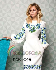 Preparation of a dress for embroidery with beads or a cross of Dress female with sleeves - Embroidery On Clothes, Embroidered Clothes, Embroidery Dress, Simple Dresses, Nice Dresses, Short Dresses, Kurta Designs, Blouse Designs, Dress Outfits
