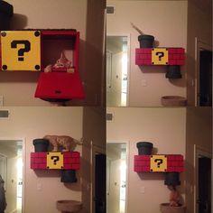 Arranhador para gato tema mario bros http://www.awesomeinventions.com/super-mario-cat-climber/