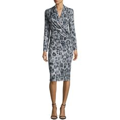 David Meister Long-Sleeve Ruched Leopard-Print Jersey Dress (19,765 PHP) ❤ liked on Polyvore featuring dresses, black, leopard dress, sheath dress, long sleeve sheath dress, long sleeve jersey dress and long sleeve dresses