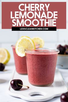 Lexi's Clean Kitchen | Cherry Lemonade Smoothie Healthy Breakfast Smoothies, Easy Smoothie Recipes, Delicious Breakfast Recipes, Easy Smoothies, Shake Recipes, Fruit Smoothies, Drink Recipes, Healthy Recipes, Non Alcoholic Drinks Hot