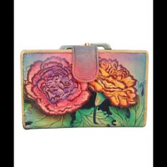 shoulder bags: Anuschka Hand Painted Genuine Leather Two Fold Wallet (Colorful Carnations) Briggs And Riley, Mata Hari, Carnations, Branding Design, Hand Painted, Wallet, Leather, Colorful, 8 Martie