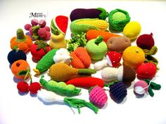 30 Pieces  Crochet Fruit and Vegetables teether teeth  by MiniMoms, $157.00