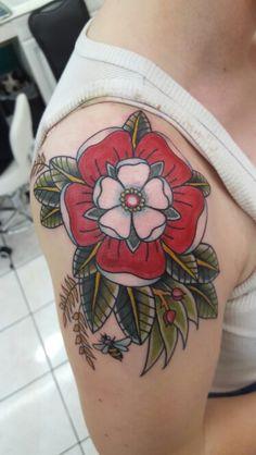 Traditional, tattoo, Tudor, rose
