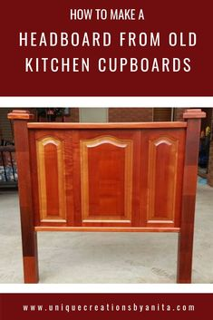 Handmade wooden headboard made from recycled kitchen cupboard doors. Recycled Kitchen, Old Kitchen, Furniture Layout, Kitchen Furniture, Farmhouse Furniture, Wood Home Decor, Diy Home Decor, Room Decor, Repurposed Furniture