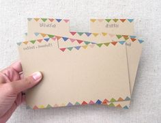 Free printable recipe card dividers.  With bunting flags!