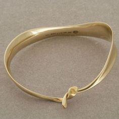 Gallery 925 - Vivianna Torun gold ribbon bangle no. 927, Handmade Sterling Silver