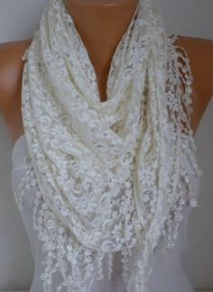 My Other SCARF Shop;  http://www.fatwoman.etsy.com Measurements :    ----- Without Lace  Lenght : 1.40 cm -- 55 inches  Wide : 58 cm -- 22 inches