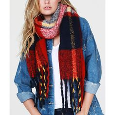Urbanista Red & Navy Plaid Fringe-Trim Scarf ($15) ❤ liked on Polyvore featuring accessories, scarves, acrylic scarves, urbanista, navy blue shawl, navy shawl and red shawl