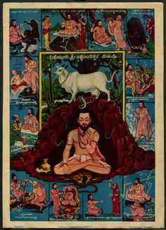 "India 1950s-60s Hindu poster YEDEEYUR SIDDALINGASWAMI MAHIME 7"" x 10"" picclick.com"