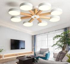 BOTIMI LED Chandelier For Living Room Modern White Lustre Wooden Bedroom Lighting Simple Surface Mounted Chandeliers - To buy again Light Bulb Chandelier, Chandelier For Sale, Chandelier In Living Room, Boho Living Room, Modern Chandelier, Living Room Modern, Home And Living, Iron Chandeliers, Room Lamp