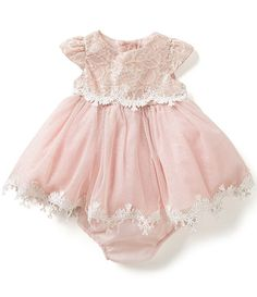 d55c243a4495c Rare Editions 3-24 Months Sparkle-Lace-Overlay-Bodice Ballgown Baby Girl