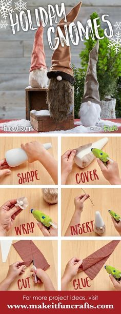 Create these adorable holiday gnomes using faux fur, felt, fabric and foam cones! #makeitfuncrafts