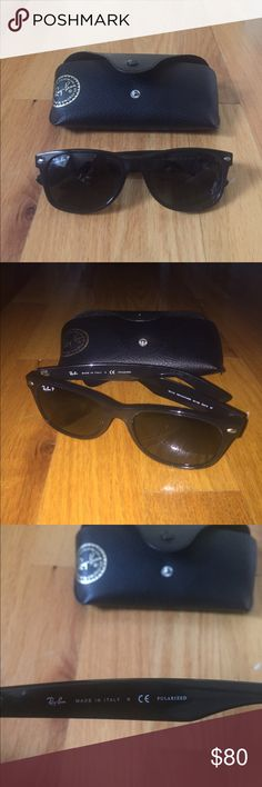 "Ray Ban ""New Wayfarer"" Sunglasses Ray Ban POLARIZED Wayfarers! Only worn a  few times! Apparently the arms are uneven as you can see in the third picture but it isn't too noticeable when you put them on! Taking offers!  Ray-Ban Accessories Sunglasses"