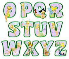 printable tinkerbell letters O-Z (lavender)
