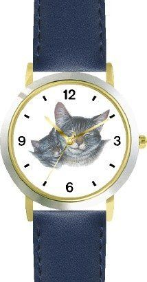 Gray Tabby Cat Mom and Kitten Cat - JP - WATCHBUDDY® DELUXE TWO-TONE THEME WATCH - Arabic Numbers - Blue Leather Strap-Children's Size-Small ( Boy's Size & Girl's Size ) WatchBuddy. $49.95