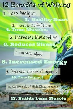 12 Benefits of Walking: Lose Weight Health Heart Tone Muscles Increase Metabolism Reduce Stress Improve Mood Increase Energy Decrease Chances of Injuries Low Impact Reduce Blood Pressure Build Lean Muscle Health And Wellness, Health Tips, Health Fitness, Inventiv Health, Planet Fitness, Bone Health, Daily Motivation, Fitness Motivation, Healthy Life