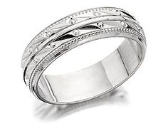9ct White Gold Beaded Bride's Wedding Ring - 5mm - 182459