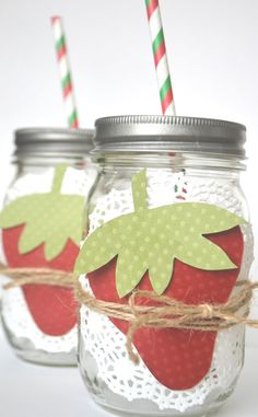 12 Strawberry Mason Jar Decorations for Strawberry Themed Parties on Etsy, $7.50