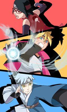 Tags: Fanart, NARUTO, Pixiv, Fanart From Pixiv, Pixiv Id 2987068, Uchiha Sarada, Uzumaki Boruto, Mitsuki (NARUTO), Boruto: Naruto the Movie, Team Konohamaru