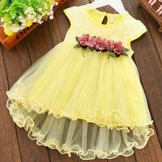 Pretty Easter flower girl yellow dress This dress is a spring yellow color and a string of flowers adorning the waistline Easter Flowers, Kids Boutique, Easter Dress, Yellow Dress, Flower Girl Dresses, Wedding Dresses, Spring, Pretty, Color
