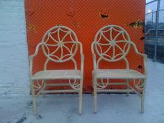 2 Faux Bamboo Chinoiserie Chippendale Rattan Hollywood Regency Arm Chairs