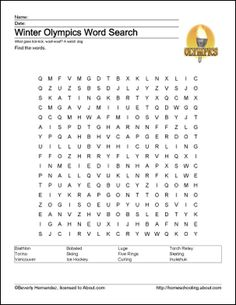 Winter Olympics Printables: Winter Olympics Wordsearch
