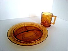 Tiara Indiana Glass Amber Mother Goose Nursery Rhyme Child Divided Plate Cup #TiaraGlass