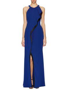 Badgley Mischka Ruffle Front Halter Maxi Dress from Dress Shop: Black Tie on Gilt