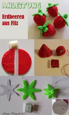 Anleitung - Erdbeeren aus Filz, Tutorial - strawberries, felt - # - The Effective Pictures We Offer You About natural Baby Toys A quality picture can tell you ma Felt Food Patterns, Stuffed Toys Patterns, Homemade Baby Toys, Baby Toy Storage, Felt Fruit, Felt Fish, Felt Play Food, Diy Bebe, Felt Baby
