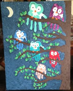 Handprint owl family. Canvas & acrylics. :) Gotta have kasondra do this! Decoration for her room :)