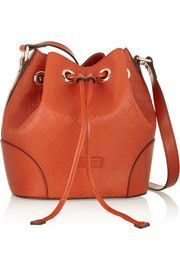 GucciBright Diamante textured-leather bucket bag $1450