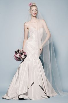 Pilar Gown in Platinum silk taffeta, sweetheart neckline mermaid fit with full pleated skirt with sweep train Available in Whiper Pink, Ivory and White also  Watters.com