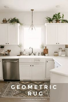 Geometric Kitchen Rug | Sarah Jane Interiors Kitchen Cabinet Hardware, White Kitchen Cabinets, Kitchen Rug, Kitchen Design, Kitchen Stuff, Kitchen Ideas, Farmhouse Area Rugs, Farmhouse Kitchens, Cabinets And Countertops