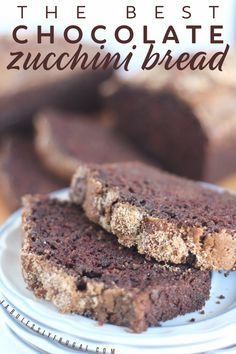 Two slices of the best chocolate zucchini bread on a plate Chocolate Zucchini Bread, Zucchini Bread Recipes, Quick Bread Recipes, Healthy Recipes, Mini Chocolate Chips, Best Chocolate, No Cook Desserts, No Cook Meals, Bhg Recipes