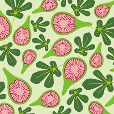 Playful green and pink pattern design with fig motif by Studio Element Graphic Design Pattern, Graphic Patterns, Surface Pattern Design, Pink Patterns, Textile Artists, Different Shapes, Textile Design, Figs, Fruit