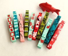 JAPANESE STYLE CLOTHESPINS hand painted magnetic pegs koi cherry blossom bamboo by SugarAndPaint on Etsy