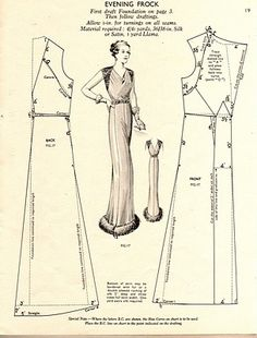 Free Vintage Evening Frock Dress Sewing Draft Pattern