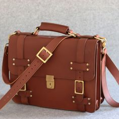 Belted Leather Briefcase - Personalized Leather Briefcase 1128486e61c15