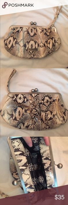 JESSICA SIMPSON: snakeskin design clutch Faux snakeskin design. Used in good condition. Jessica Simpson Bags Clutches & Wristlets