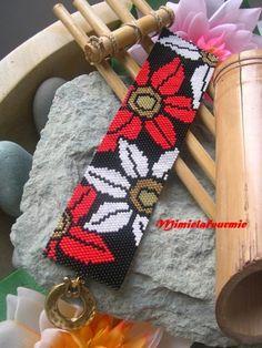 Bracelet Manchette Miyuki - Fleurs de Tournesol - tissage peyote