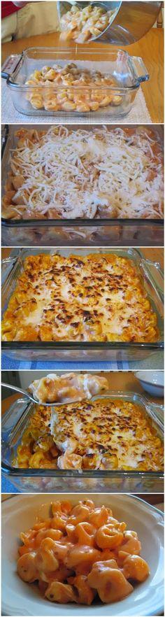 Tortellini Bake - -1 bag of frozen cheese filled tortellini (19 or 20 oz) -1 jar of alfredo sauce (15 oz) -1/2 jar of marinara sauce -1/2 cup shredded mozzarella -1/2 cup grated Parmesan cheese