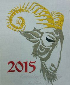 Year of the goat. Embroidery design for by EmbroideryZone (Natasha Tyumiko)  on Etsy
